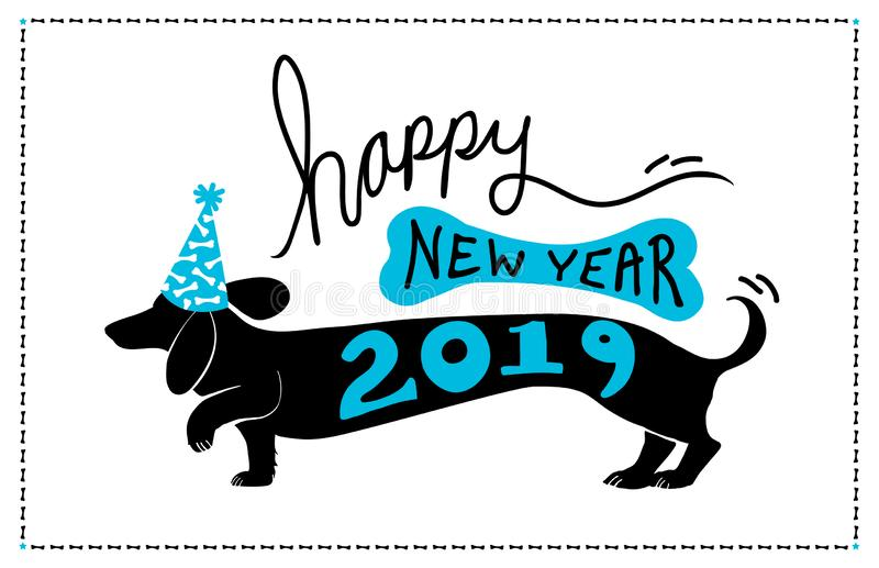 Happy New Year 2019 background design with cute fun dachshund doxie dog wearing blue party hat with bone pattern and 2019 typograp vector illustration