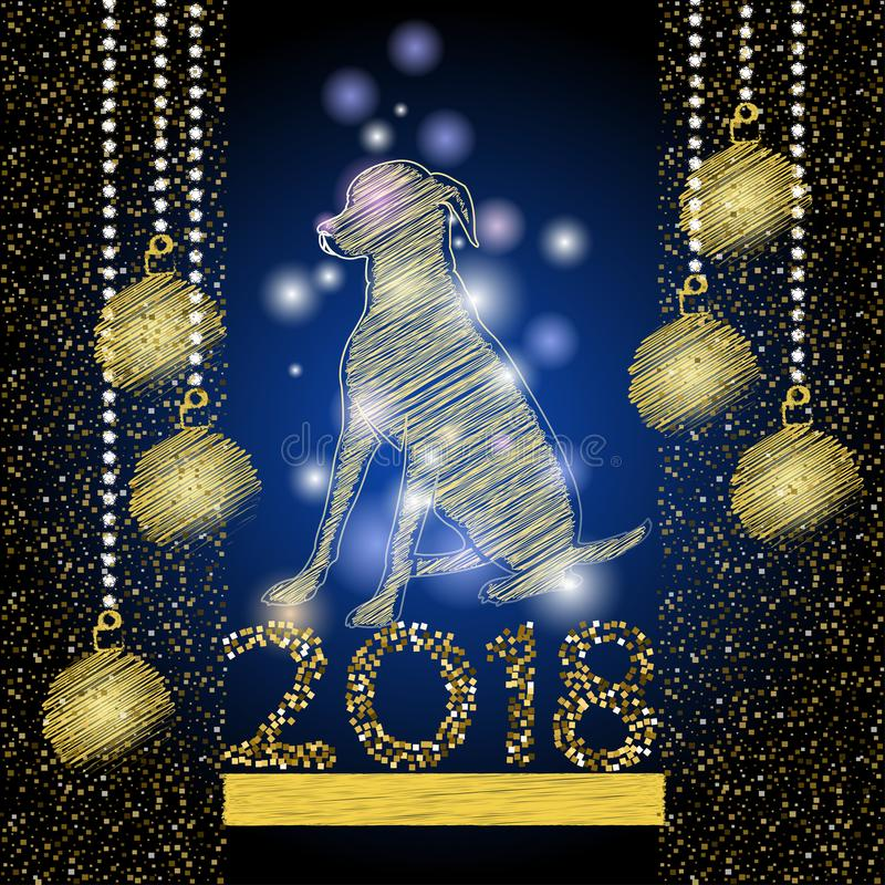 Happy New Year 2018 background with dogg of Chinese calendar royalty free stock image