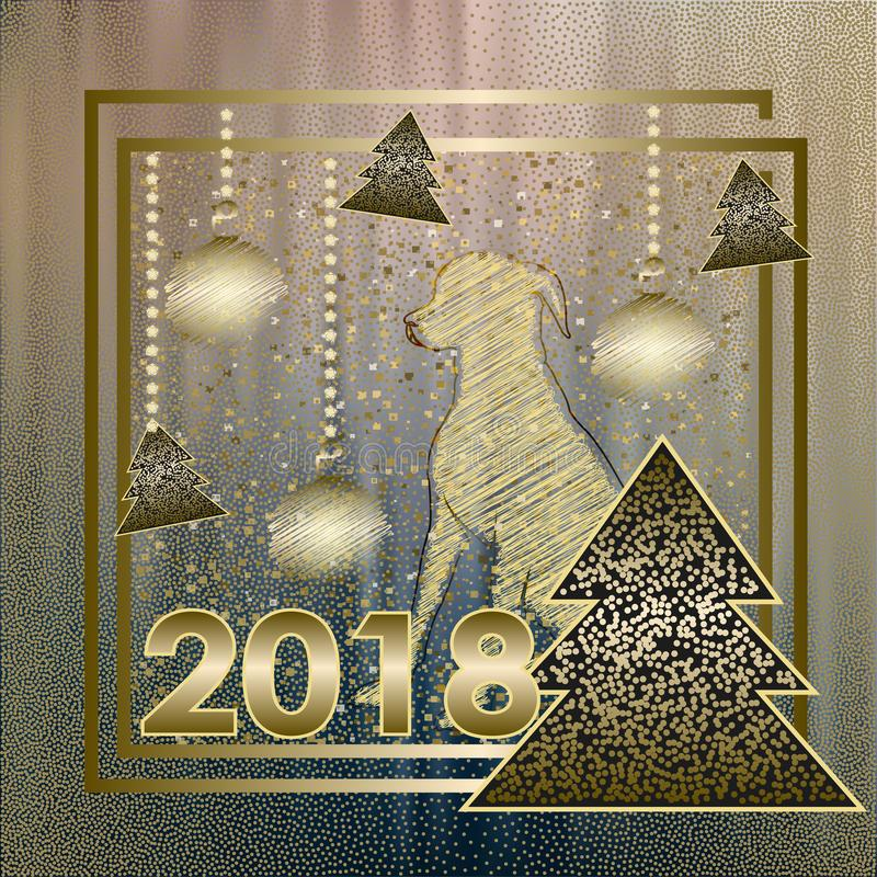 Happy New Year 2018 background with dogg of Chinese royalty free stock image
