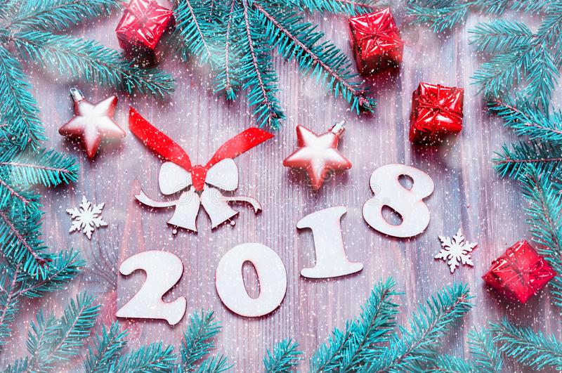Download Happy New Year 2018 Background With 2017 Figures, Christmas Toys,  Blue Fir Tree
