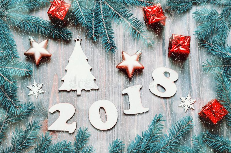 Download Happy New Year 2018 Background With 2018 Figures, Christmas Toys,  Blue Fir Tree