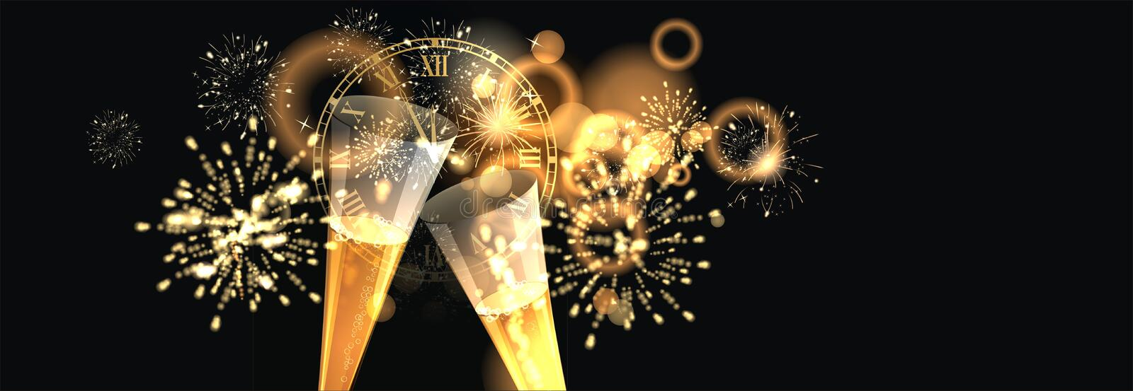 Happy New Year background with firework royalty free illustration