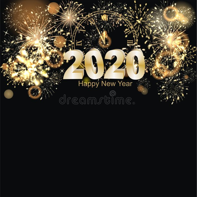 Happy New Year background with firework vector illustration