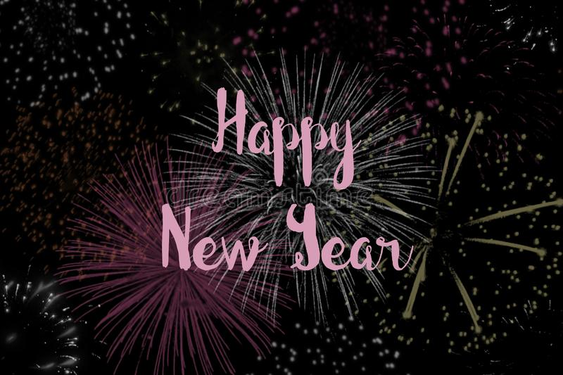 Happy New Year with a Background of Fireworks stock illustration