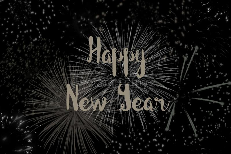 Happy New Year with a Background of Fireworks vector illustration