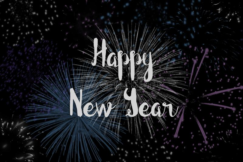 Happy New Year with a Background of Fireworks royalty free stock photos