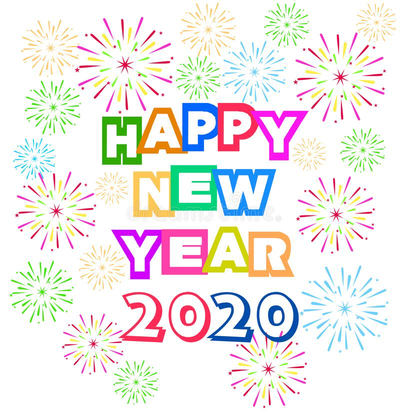 Happy New Year 2020 background with fireworks. Happy New Year 2020 background with fireworks stock illustration