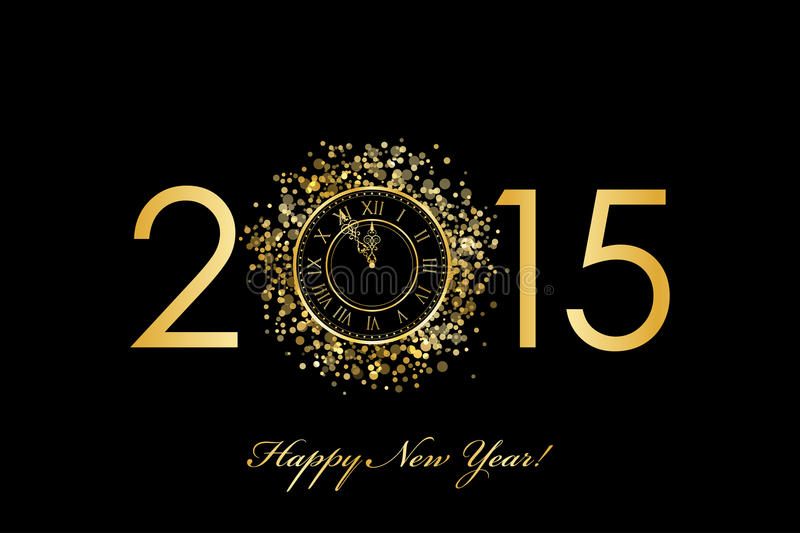2015 Happy New Year background with gold clock. Vector 2015 Happy New Year background with gold clock