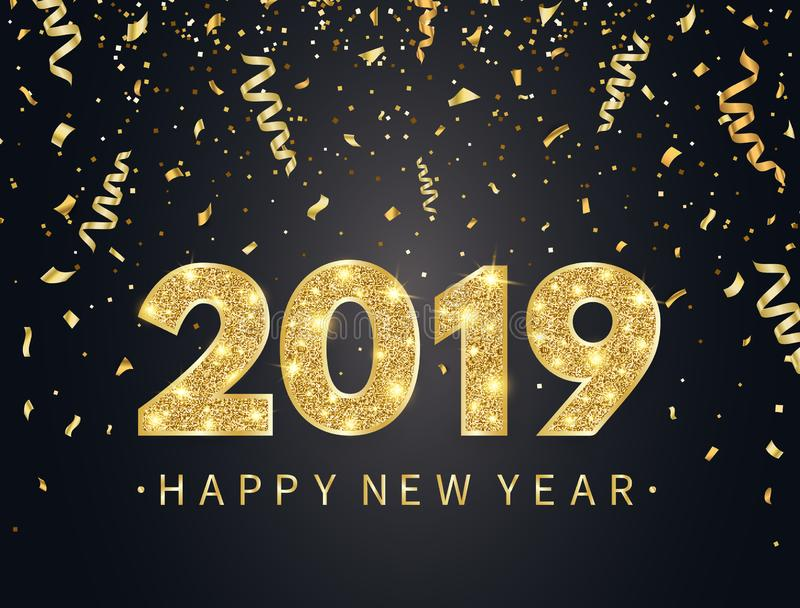 2019 Happy New Year background with gold confetti, glitter, sparkles and stars. Happy holiday backdrop with bright vector illustration
