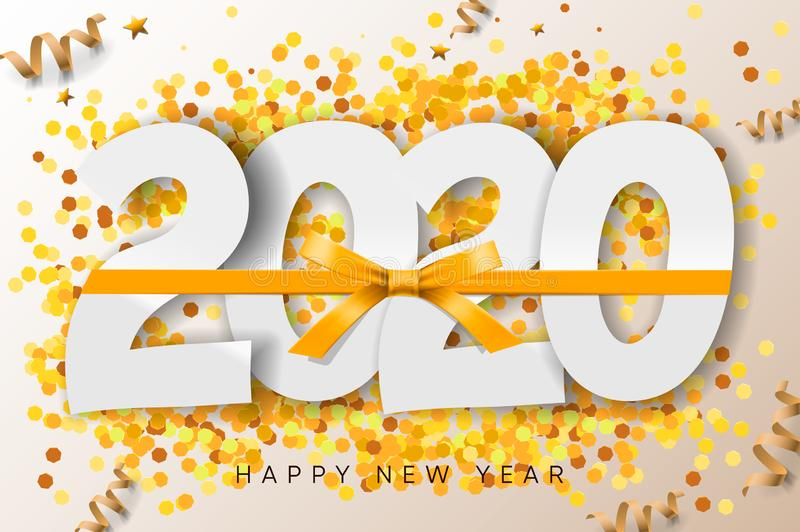 2020 Happy New Year background with gold ribbon and glitter. Vector illustration royalty free stock photo