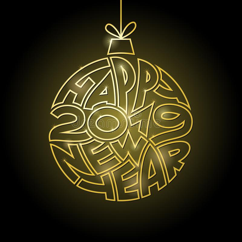 Happy New Year background with golden christmas ball. royalty free illustration
