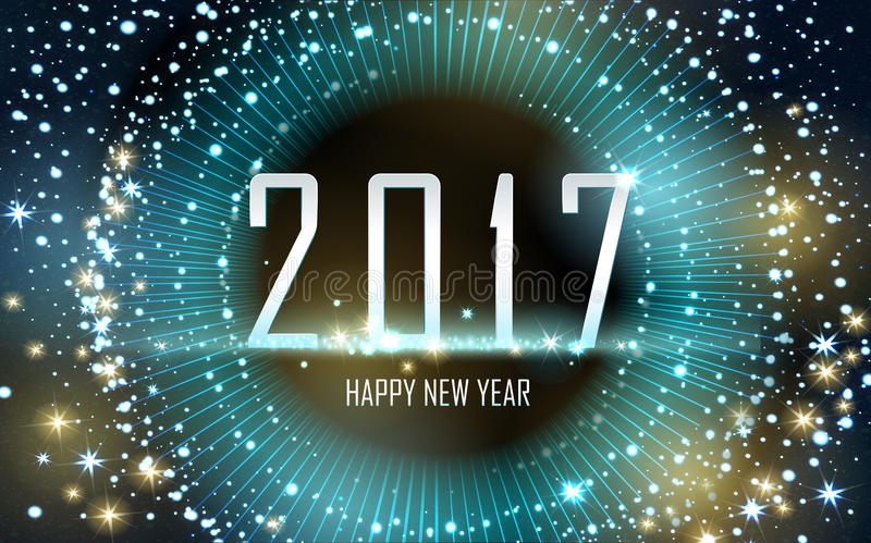 Happy new year 2017. 2017 Happy New Year background with golden fireworks, brown background royalty free illustration