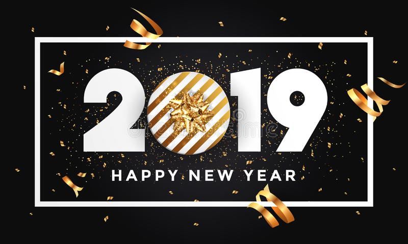 Happy new year 2019 - Banner with frame, black royalty free illustration