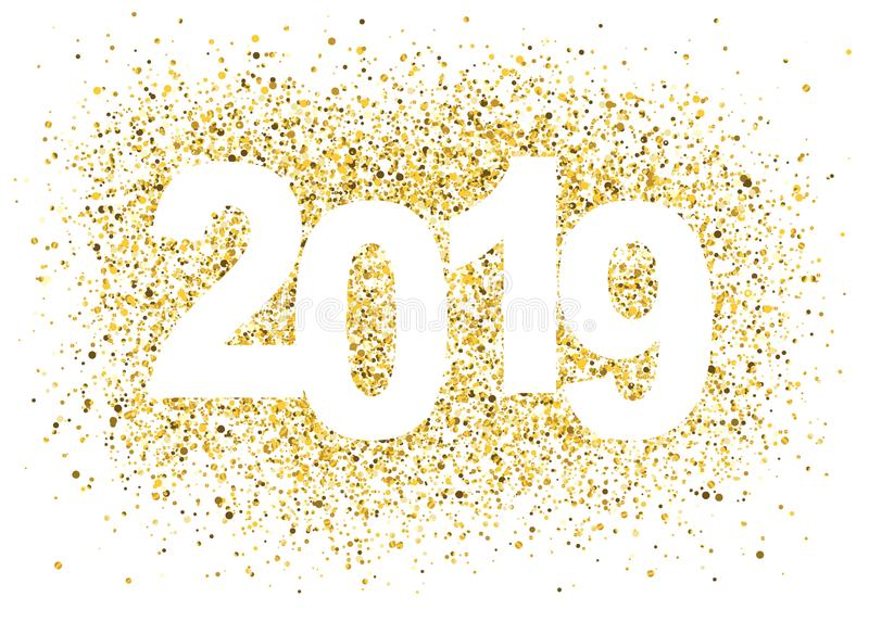 2019 Happy New Year background with golden glitter number. royalty free illustration