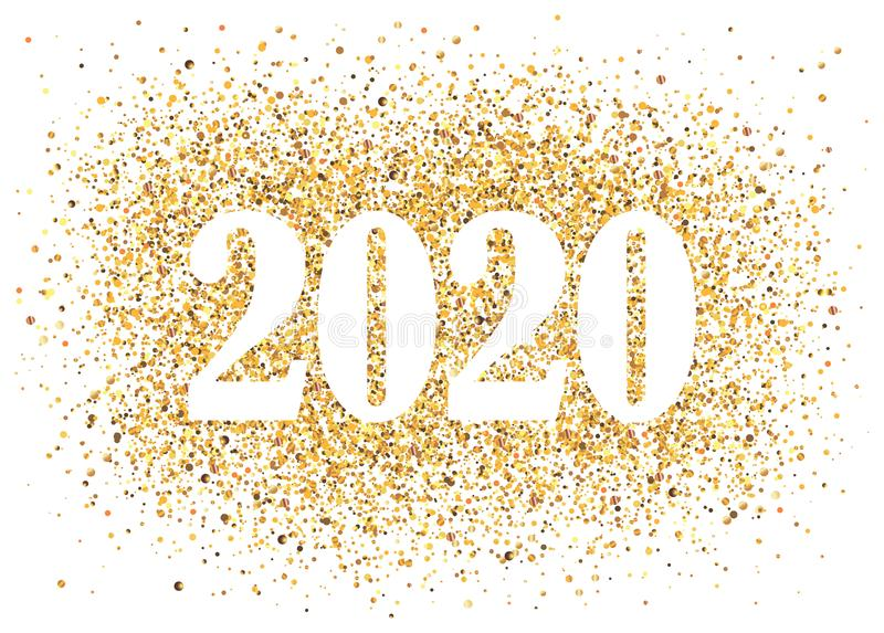 2020 Happy New Year background with golden glitter number. Christmas winter holidays design. Seasonal greeting card stock illustration