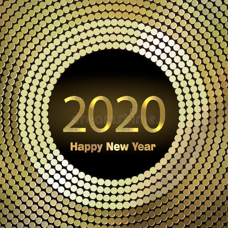 Happy New Year 2020. Background with golden sparkling texture. Gold Numbers 20, 2, 0, 02. Light effect. Vector Illustration. For holiday greeting card royalty free illustration