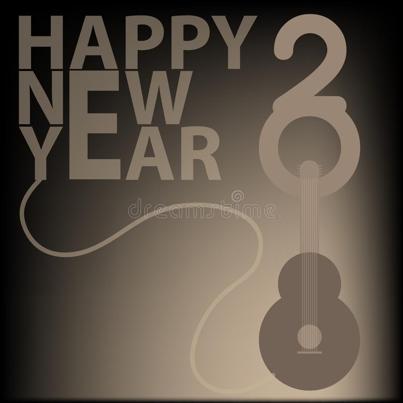 2018 Happy New Year background with guitar royalty free stock image