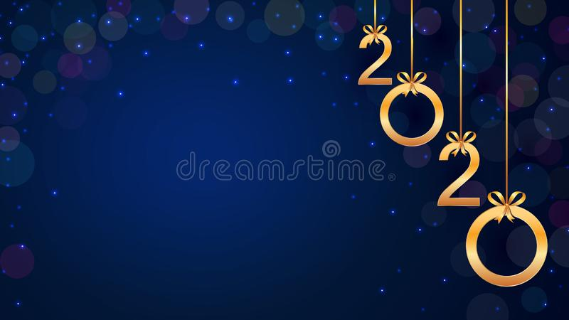 Happy New Year 2020 background with hanging golden numbers, glitter, bokeh and snow. Modern template design for holiday banner stock illustration
