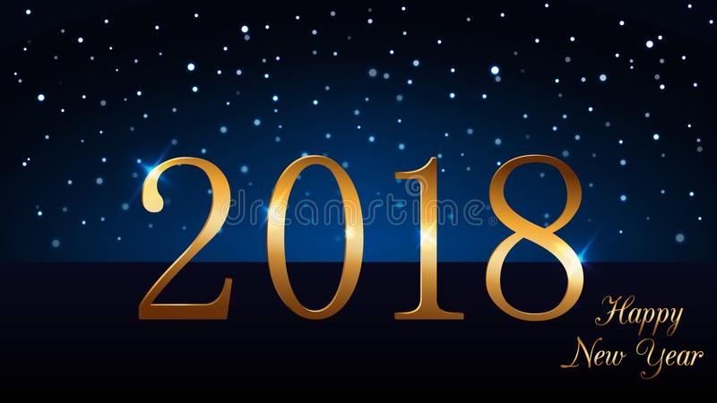 Happy New Year background with magic gold rain. Golden numbers 2018. Christmas design light, vibrant, glow and sparkle royalty free illustration