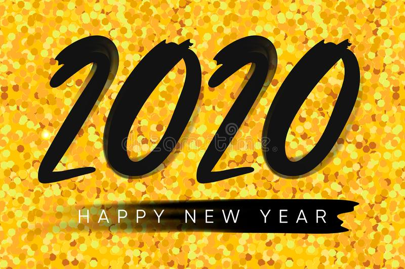 2020 Happy New Year background. Merry Christmas. Golden glitter background. Vector illustration.  royalty free stock images