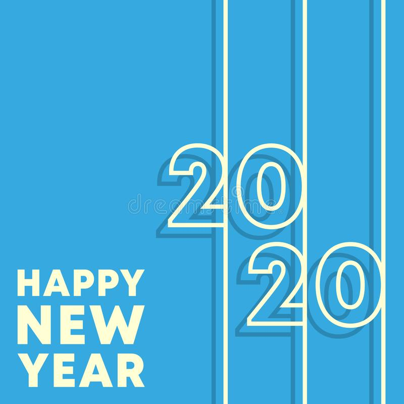 2020 Happy New Year background. Minimal line design template for typography, printing products, flyer, brochure cover. S or invitation cards. Vector illustration vector illustration