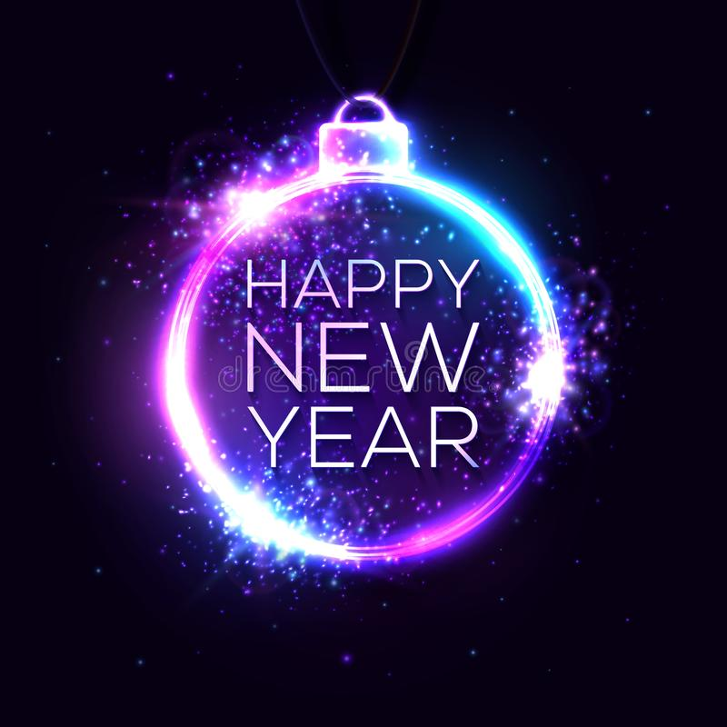 Happy new year background. Neon light banner. royalty free illustration