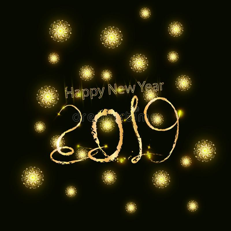 2019 Happy New Year background with number and golden glitter. Gold number 2019 and text happy new year, vector design template. G vector illustration