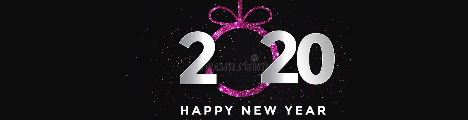 2020 Happy New Year Background Pink. Holiday Of 2020 Year, Panorama stock illustration