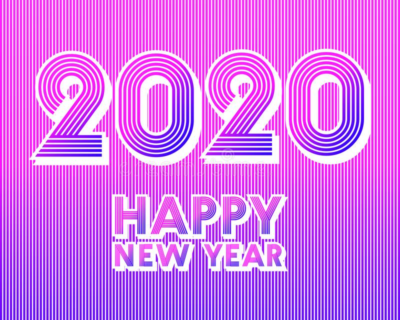 2020 Happy New Year background. Retro line design for typography, printing products, flyer, brochure covers or invitation cards. Vector illustration vector illustration