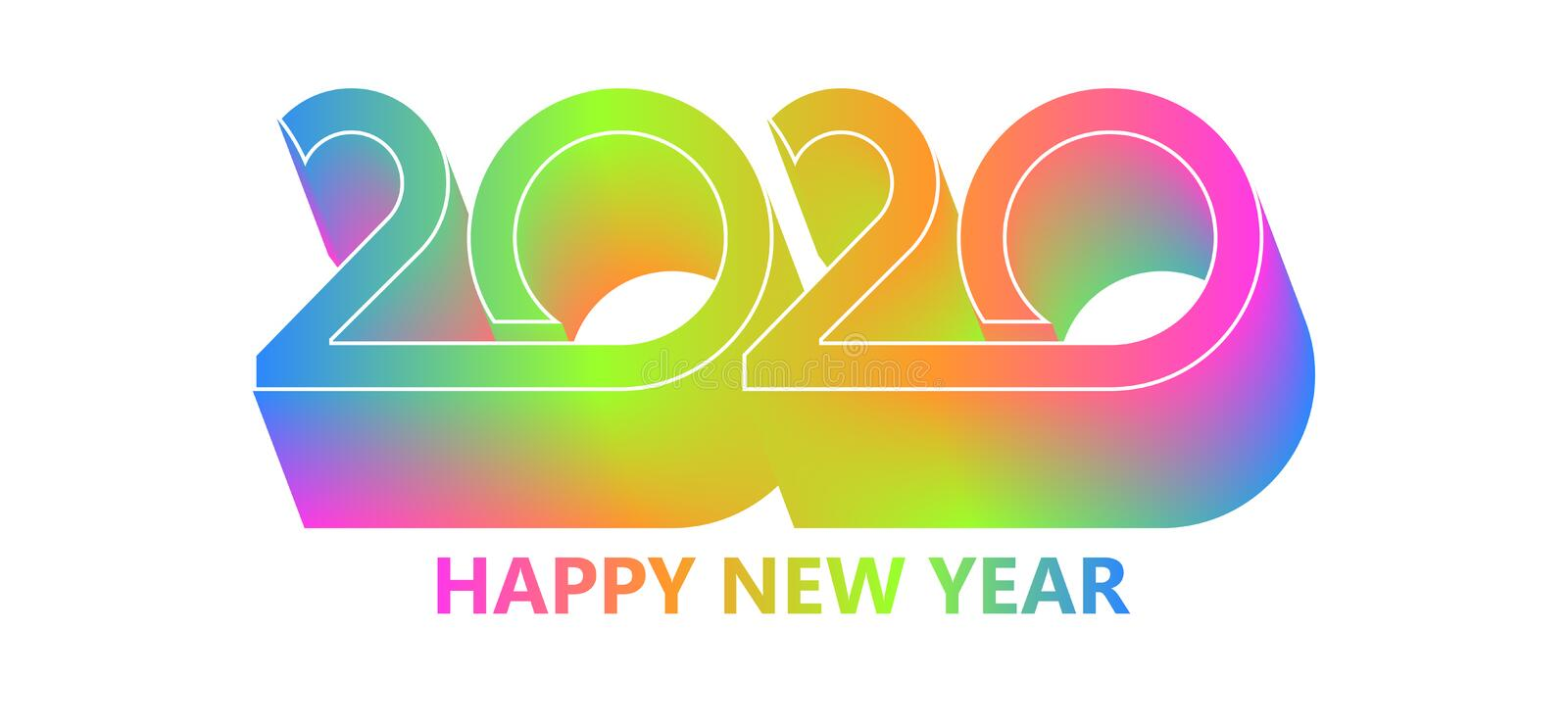 2020 Happy New Year background. Retro line design for typography, printing products, flyer, brochure covers or. Invitation cards. Vector illustration. EPS10 royalty free illustration