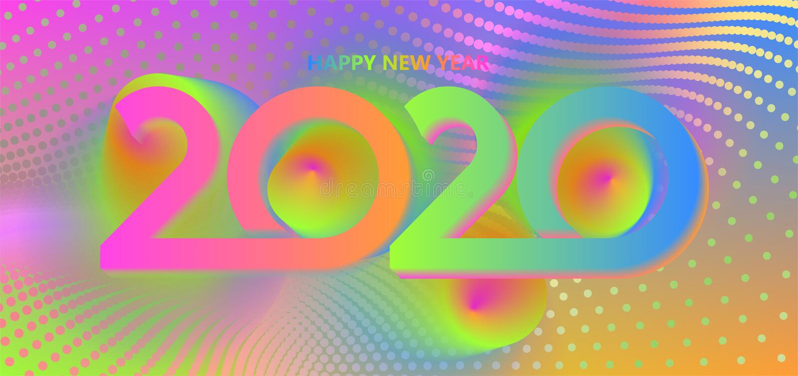 2020 Happy New Year background. Retro line design for typography, printing products, flyer, brochure covers or. Invitation cards. Vector illustration. EPS10 vector illustration