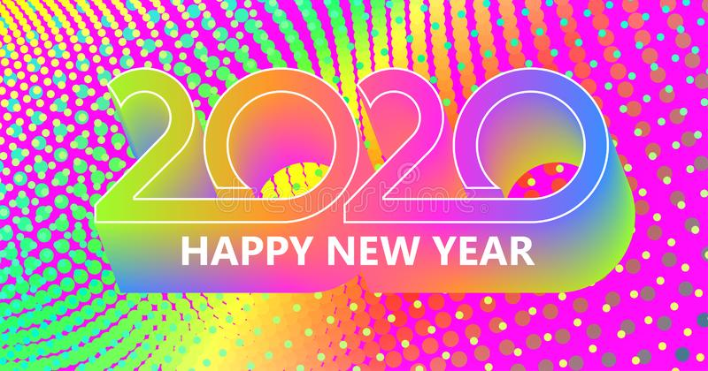 2020 Happy New Year background. Retro line design for typography, printing products, flyer, brochure covers or. Invitation cards. Vector illustration. EPS10 stock illustration