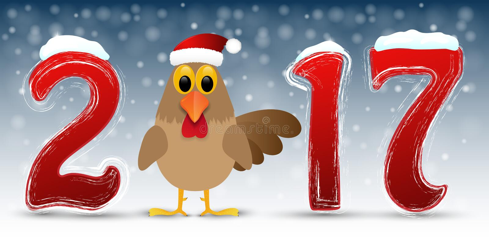 Happy New Year background with rooster. vector illustration