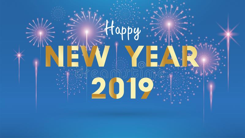 2019 Happy New Year Background for Seasonal Flyers and Greetings Card or invitations background with fireworks. simple modern and vector illustration