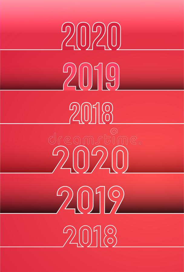 Happy New Year 2019 and 2018, 2020 background. Set of calendar design typography. Year number with outline digits. Vector illustra stock illustration