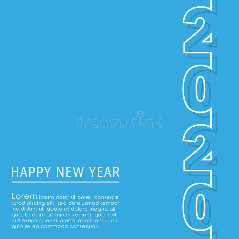 2020 Happy New Year background template. Minimal line design for typography, printing products, flyer, brochure covers or. Invitation cards. Vector illustration vector illustration