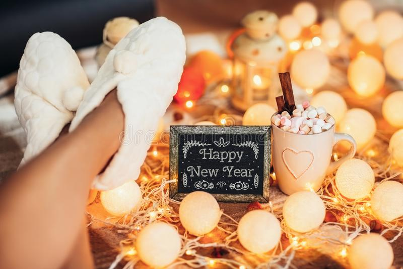 Happy New Year background 2018. Winter holiday concept royalty free stock images