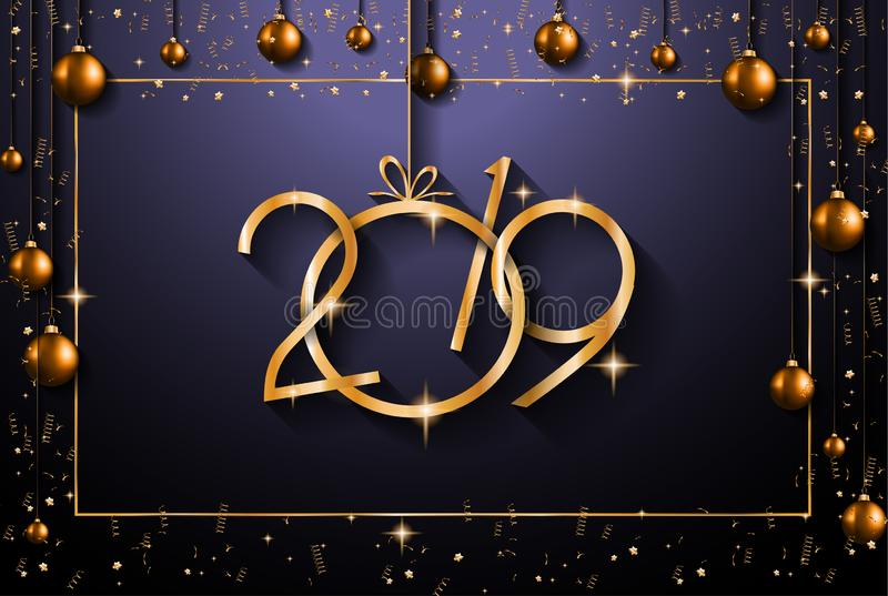 2019 Happy New Year Background for your Seasonal Flyers and Greetings Card or Christmas stock illustration