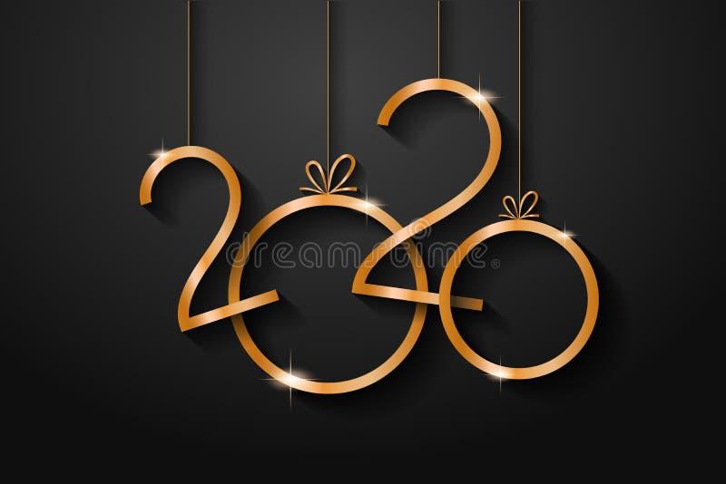2020 Happy New Year Background for your Seasonal Flyers and Greeting Card ou convites temáticos de Natal ilustração do vetor