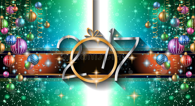 2017 Happy New Year Background for your Seasonal Flyers stock illustration