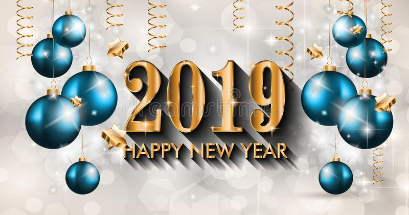 2019 Happy New Year Background for your Seasonal Flyers and Greetings Card royalty free illustration