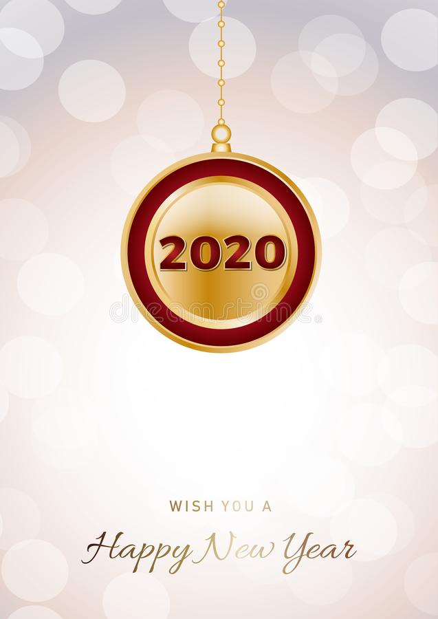 2020 Happy New Year ball  on iridescent glitter festive empty background. Shiny sparkles swirling in air vector illustration