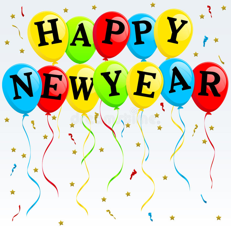 Happy New Year Balloons royalty free illustration