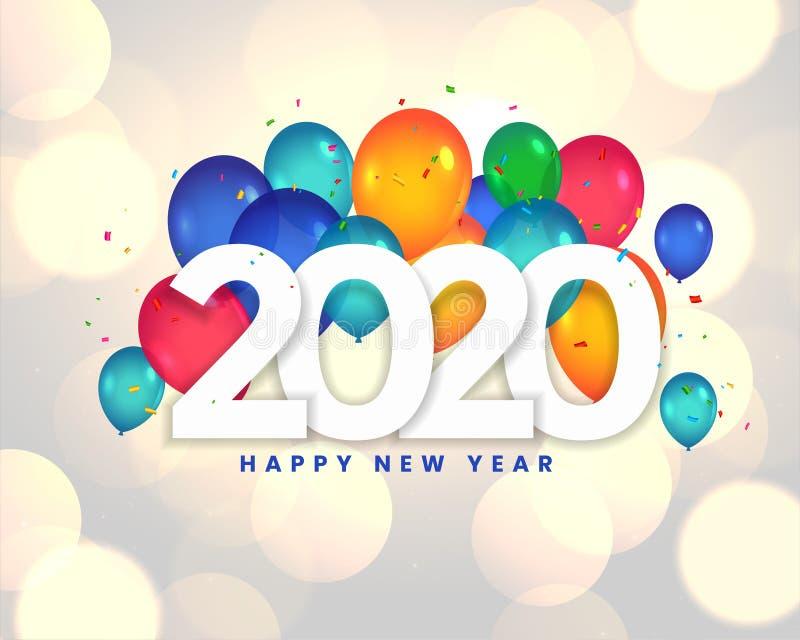 Happy new year 2020 balloons celebration background design royalty free illustration