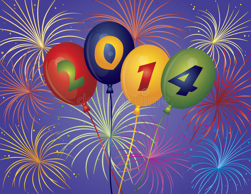 Happy New Year 2014 Balloons Fireworks Illustratio. Happy New Year 2014 Balloons with Fireworks Display Background Illustration vector illustration