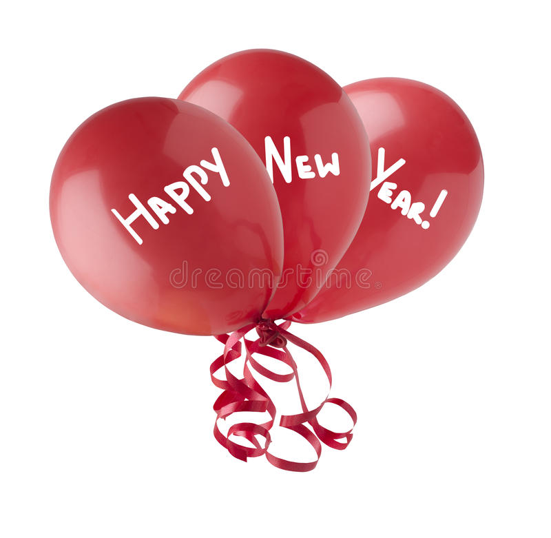 Happy New Year Balloons. Three red balloons, grouped together with streamers trailing below. Each containing one word of the phrase Happy New Year. Isolated on a stock images