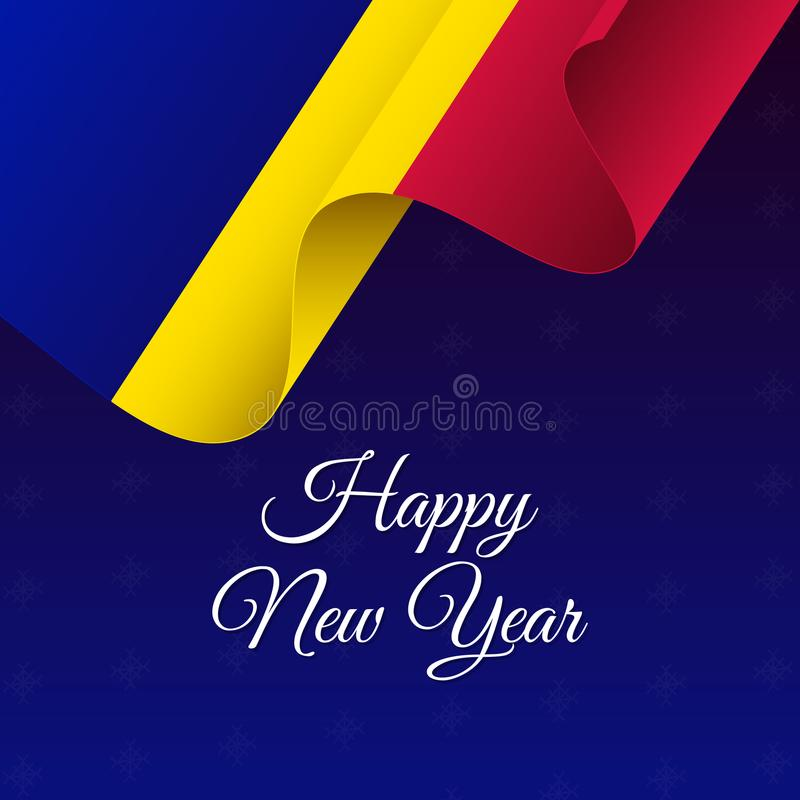 Happy New Year banner. Andorra waving flag. Snowflakes background. Vector illustration. Happy New Year banner. Andorra waving flag. Snowflakes background stock illustration