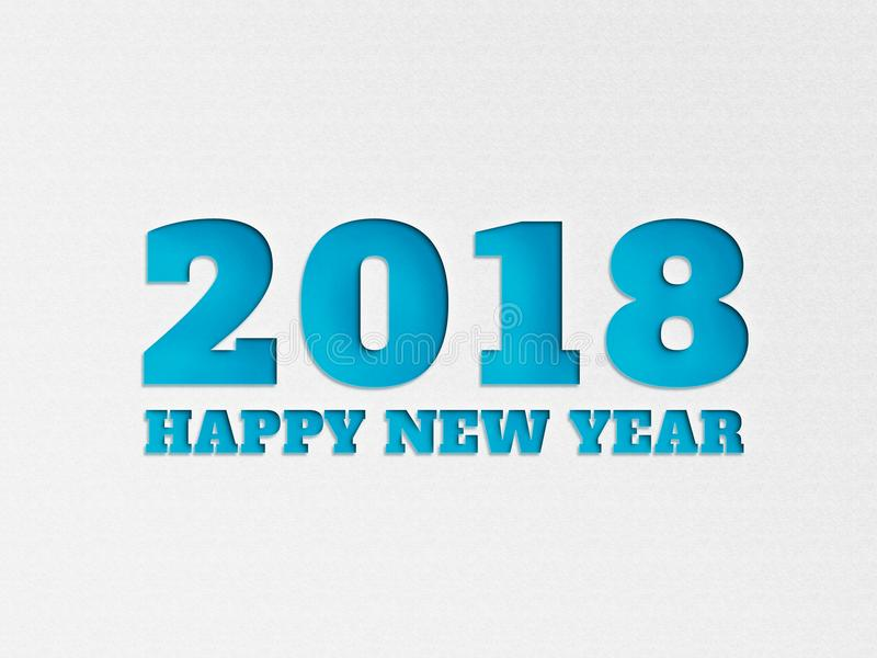Happy New Year 2018 banner background flower with paper cut out effect in blue color. royalty free illustration