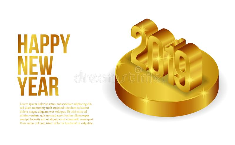 Happy new year banner background template with 3d isometric gold silver number. vector illustration royalty free illustration