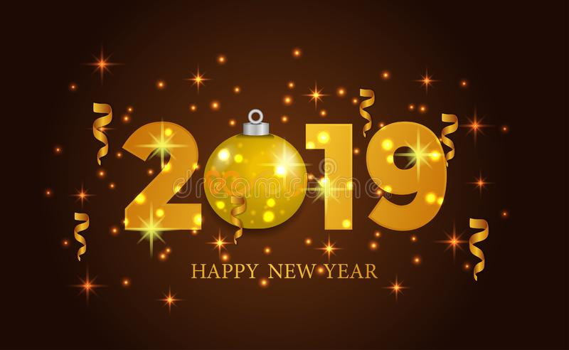 Happy new year banner background template with 3d gold number and bauble. vector illustration royalty free illustration